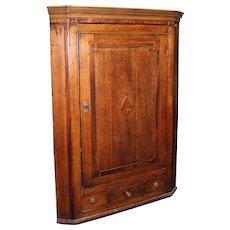 Georgian Antique Mahogany Hanging Corner Cabinet Cupboard