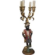 Pair of Antique Polychrome Gilt Carved Wood Blackamoor Table Lamps