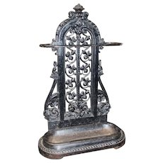 Vintage Ornate Heavy Cast Iron Walking Stick Umbrella Stand