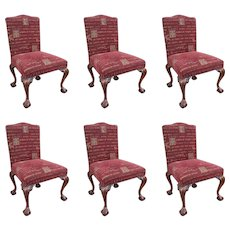 Set of 6 Upholstered Mahogany Chippendale Style Ball & Claw Chairs