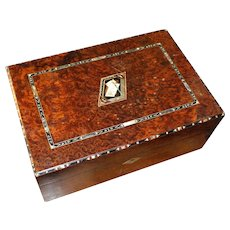 Early 19th c. Walnut Writing Slope with Ivory Ebony & Mother of Pearl Inlay