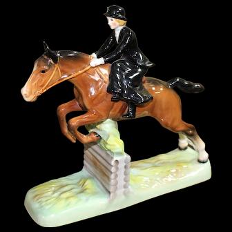 Beswick Sculpture of Huntswoman Jumping Sidesaddle