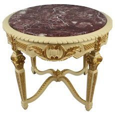 Decorative Painted Marble Topped Carved Wood Centre Table