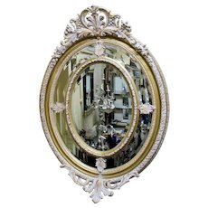 Impressive Oval Carved Gilt Limed Oak Mirror