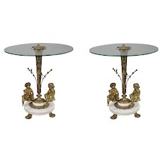 Pair of Cherub Ormolu & Marble Glass Topped Occasional Tables