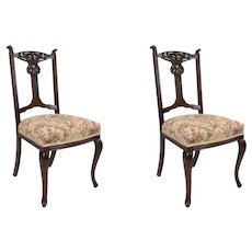 Pair of Edwardian Mahogany Chairs with Tapestry Upholstered Seats