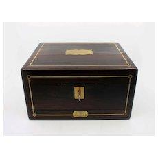 Fine Antique Regency Ladies Writing Box Rosewood Brass Inlay Secret Drawer