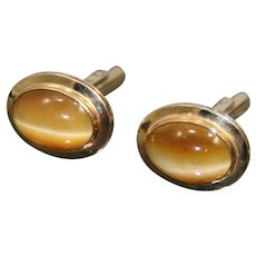 Gents 14k Gold Tiger's Eye Cufflinks
