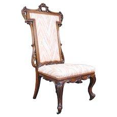 Elegant Victorian Carved Walnut Nursing Chair