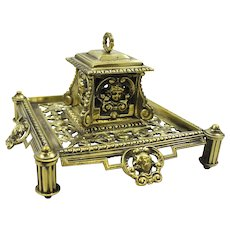 Antique Victorian Polished Brass Inkwell