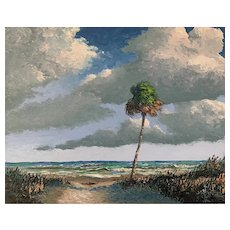 Ocean View Palette Knife Florida Seascape Oil Painting by Mark Stanford