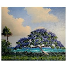 Jacaranda Florida / Hawaii Oil Palette Knife Painting by Mark Stanford