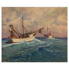 Robert C. Gruppe 20th Century Oil Painting 30 by 36 entitled, Florida Shrimper