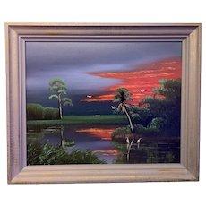 Al Black Highwaymen Florida Oil Painting 24x30 in original frame