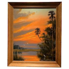 Harold Newton Highwaymen Florida Oil Painting Sunset Fire Sky