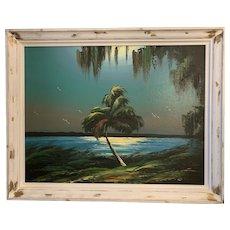 James Gibson, 20th Century Florida Highwaymen Oil Painting on Upson Board