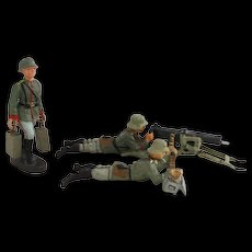 Vintage 1930s German Heavy Machine Gun MG 08 Crew in Combat 3 x German LINEOL ELASTOLIN Toy Soldiers