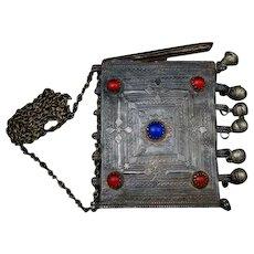 1910s Antique Turkish Ottoman Islamic Tobacco Purse on Chain Snuff Box