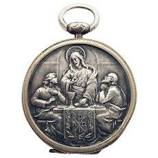 Vintage French Religious Host Holder Last Supper Holy Communion Jesus Pyx Wafer Box Catholic Faith