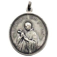 Antique German Religious Medal Saint Aloysius de Gonzaga St Louis Holy Medal Saint Louis de Gonzague Patron Saint Protection Necklace Charm