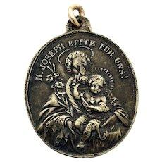 19th Century German St Joseph Holy Medal Silver Lucky Charm St. Joseph Patron Saint Religious St Joseph Protection Necklace Charm