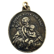 19th Century German St Joseph Holy Medal Silver Lucky Charm St. Joseph Patron Saint Religious St Joseph Protection Necklace Charm