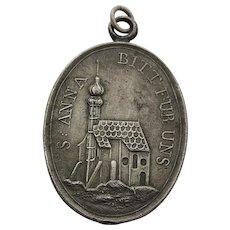 Antique German St. Anne Medal 19th Century Protection Necklace Charm Patron Saint Medal Saint Anne
