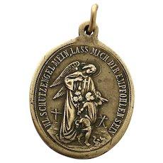 Rare 19th Century Guardian Angel Holy Medal German Religious Medal Saint Aloysius de Gonzaga Patron Saint Protection Necklace Angel Charm  Saint Louis de Gonzague
