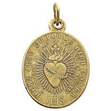 Vintage Religious Sacred Heart Medal Saint Boniface Catholic Pendant Sacred Heart of Jesus Charm