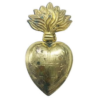 Antique 19th Century French Gilded Brass Heart of Mary Sacred Ex Voto Flaming Heart Pendant Protection Necklace