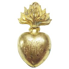 Antique 19th Century French Gilded Brass Heart of Mary Sacred Ex Voto Flaming Heart