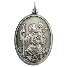 Vintage British St Christopher Medal Solid Silver Religious Lucky Charm Saint Christopher Pendant on a Chain