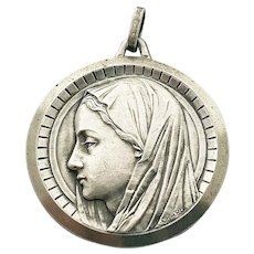 Vintage French Blessed Virgin Mary Medal Mother Mary Art Deco Pendant French Religious Lucky Charm
