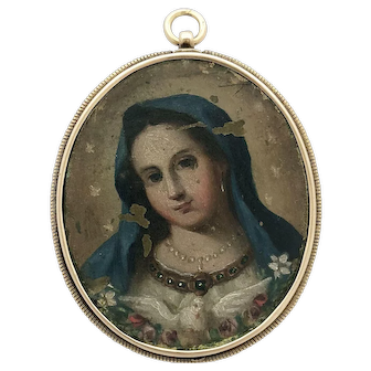 Rare Antique Baroque Religious Medallion Superb Hand Painted Mother Mary Pendant Jesus Agnus Dei Medallion