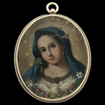 Rare Antique Baroque Religious Medallion Superb Hand Painted Mother Mary Pendant Jesus Agnus Dei Medallion
