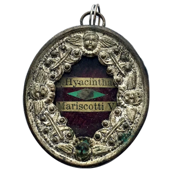 19th Century Relic Reliquary Saint Hyacintha Mariscotti Wax Sealed Locket Religious Pendant