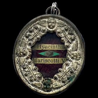 19th Century Relic Reliquary Saint Hyacintha Mariscotti Wax Sealed Locket Religious Pendant