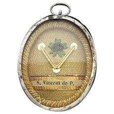 19th Century Relic Reliquary Saint Vincent de Paul France Wax Sealed Locket Religious Pendant