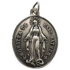 Vintage French Congregation of the Children of Mary Medal Religious Lucky Charm Silver Pendant Protection Necklace