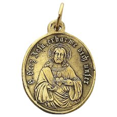 1920s Miraculous Medal German Catholic Medal Mother Mary Charm Virgin Mary Jesus Medal Religious Lucky Charm