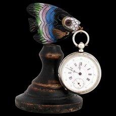 Vintage French Fish Pocket Watch Holder Curiosity Cabinet Pocket Watch Stand