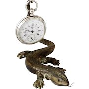 Superb French Lizard Reptile Pocket Watch Holder Art Deco Pocket Watch Stand