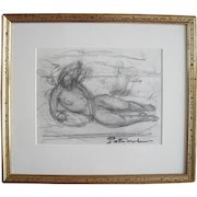 Gustave Patriarche (1909-2001). French school 20th century pencil drawing female nude.