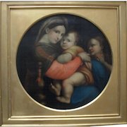 19th Century Madonna della seggiola after Raphael. Large Oil Painting.