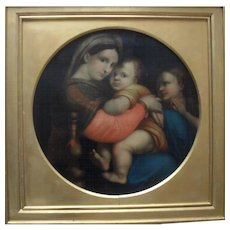 19th Century Madonna della seggiola after Raphael. Large Oil Painting.