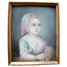 French School Oil Pastel c1820 Signed with Initials CM - Red Tag Sale Item