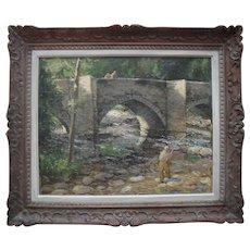 Charles Walter Harvey (1895 - 1970) Fishing, English Impressionist Oil Painting.