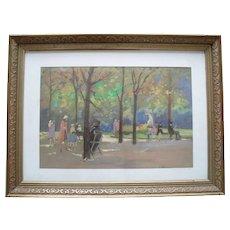 Elizabeth HUNTER (1935) Gouache Painting Paris
