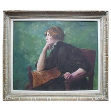 French School Impressionist Portrait c1895 Oil Painting.