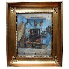 "French Oriental School ""Casa Porte Neuve 1884"" Oil Painting."